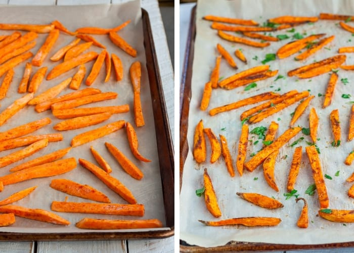 two photos of spicy sweet potato fries baking