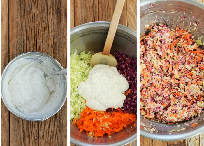 three process photos for making easy coleslaw
