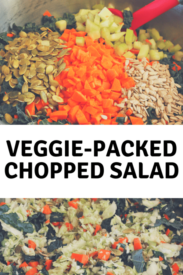 A powerhouse serving of veggies and a touch of bacon in a delicious chopped salad. A hearty chopped salad with so much flavor that my sandwich loving husband will eat this first at meals.