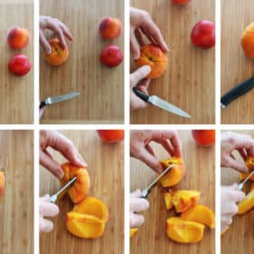 8 photos showing the steps on how to cut a peach