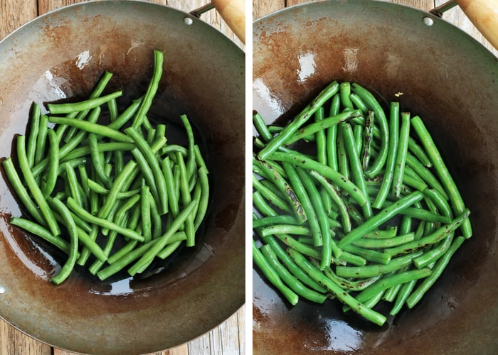 two photos showing green bean stir fry being cooked in a wok