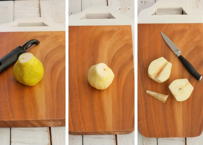 Three photos showing the steps for peeling pears for canning pears