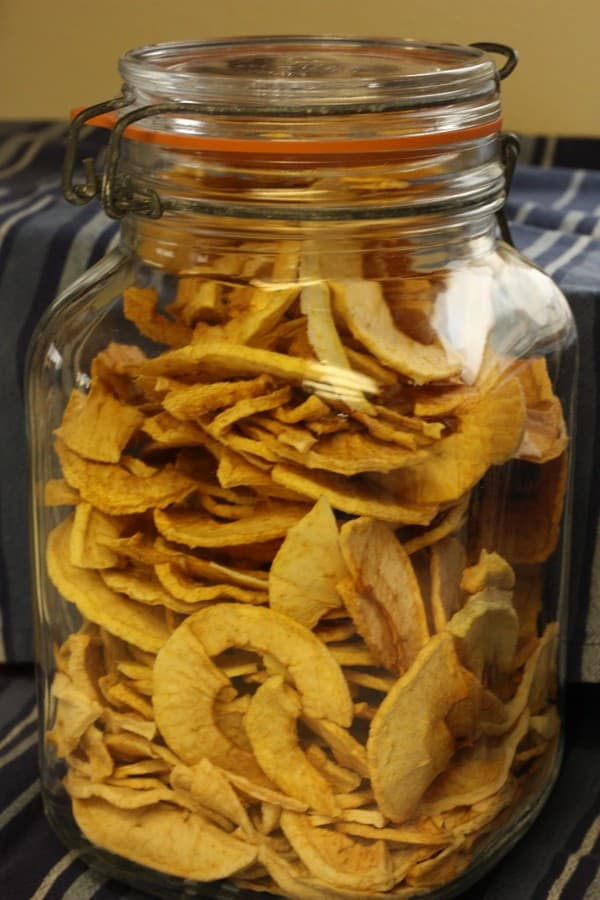 dried apples in a jar