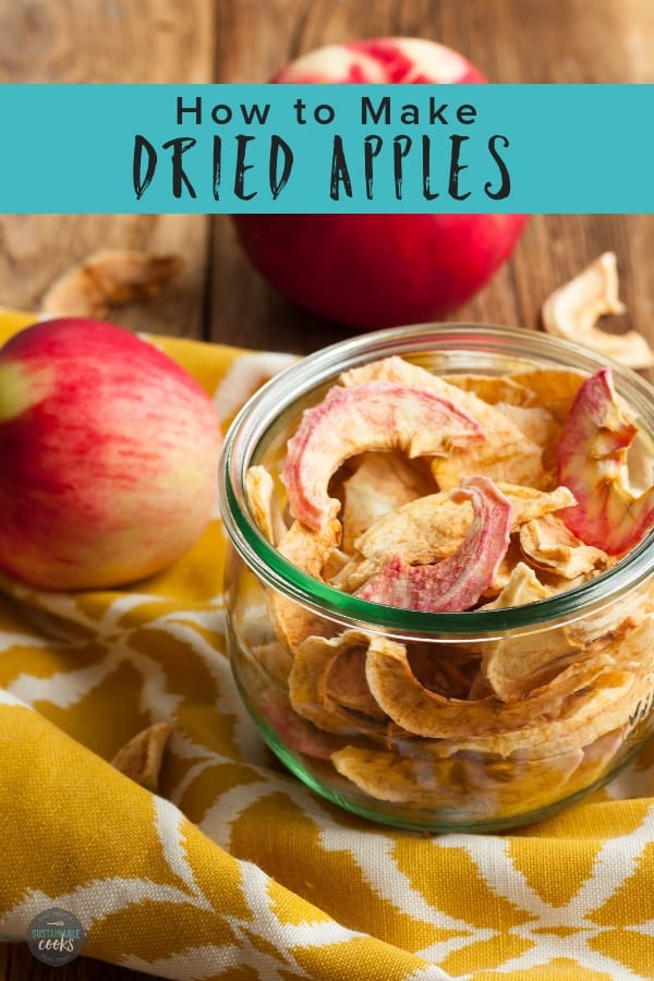 Dried fruit is such a delicious and healthy snack! Learn how to make dried apples in a food dehydrator or in the oven. #sustainablecooks #driedapples #driedfruit #whole30 #paleo