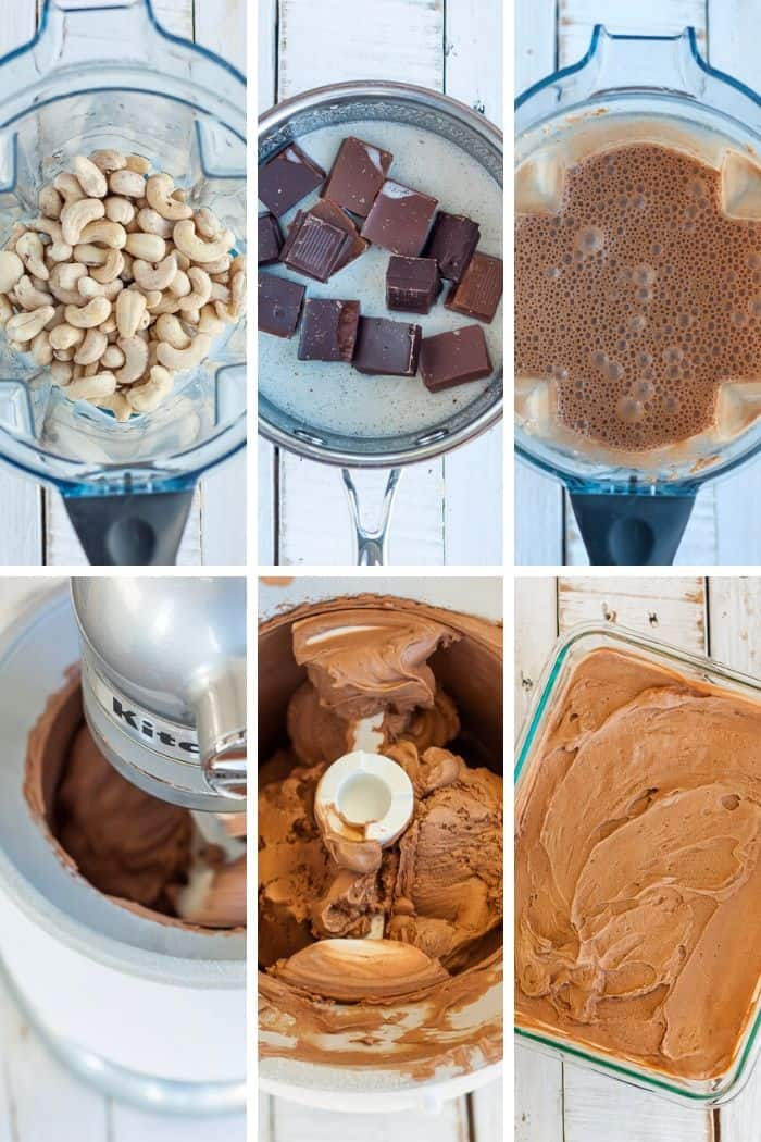 6 step by step photos showing how to make dairy-free ice cream