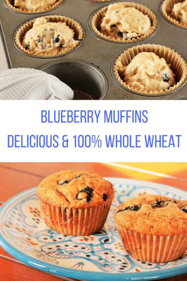 Blueberry muffins that are delicious, healthy, and 100% whole wheat. These fluffy and tasty blueberry muffins are a hearty breakfast thanks to whole grains.