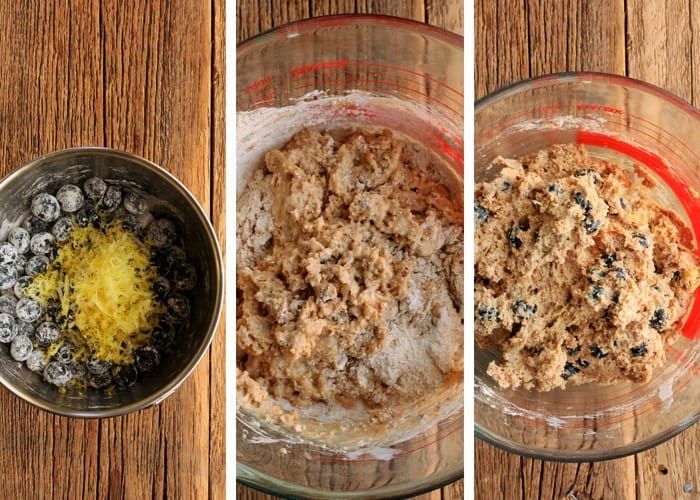 Three process shots for making whole wheat blueberry muffins