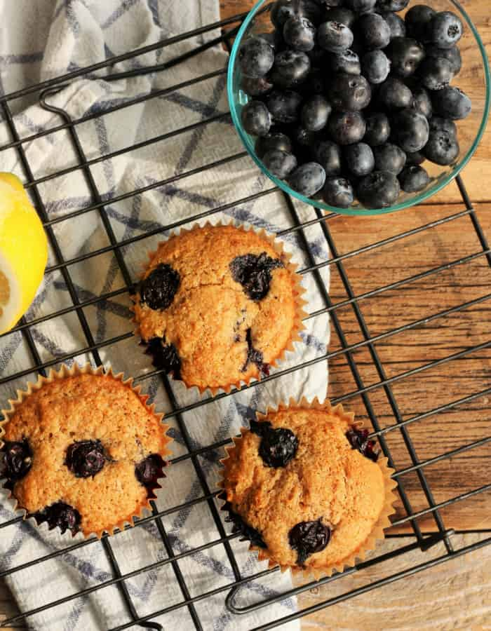 Whole wheat blueberry muffins on a baking tray
