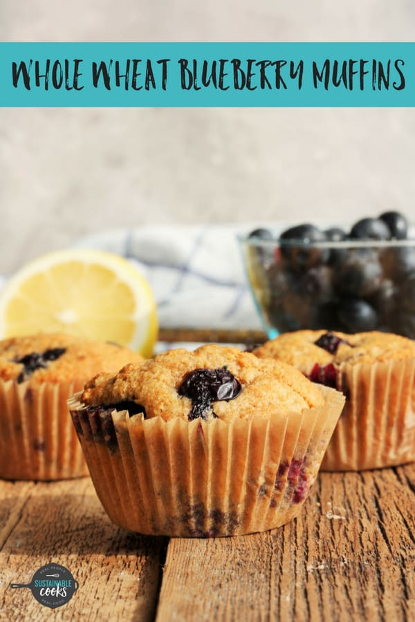 You'll never believe that these amazing homemade Whole Wheat Blueberry Muffins are made with 100% whole grains. Flavored with lemon zest, these blueberry muffins are an easy and healthy make-ahead recipe the whole family will love. #sustainablecooks #blueberrymuffins #wholewheat #makeahead #breakfast #blueberries
