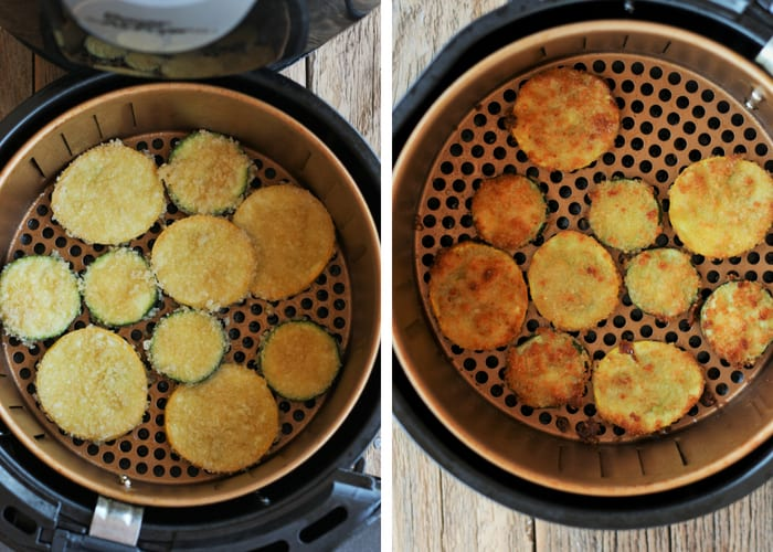 Fried zucchini chips made in an air fryer