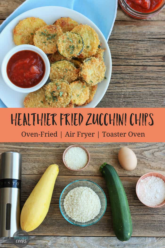 Make amazing and easy fried zucchini chips for your family with this versatile recipe! Options include oven-fried, air fryer, or even the toaster oven. #sustainablecooks #zucchini #appetizer #friedzucchini #airfryer #zucchinichips #ovenfried #zucchinifries