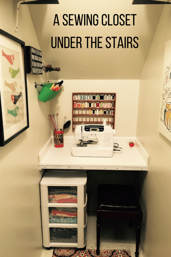 Transform a closet under the stairs into a tiny Harry Potter sewing closet. Create a sewing and craft closet from an unused space.