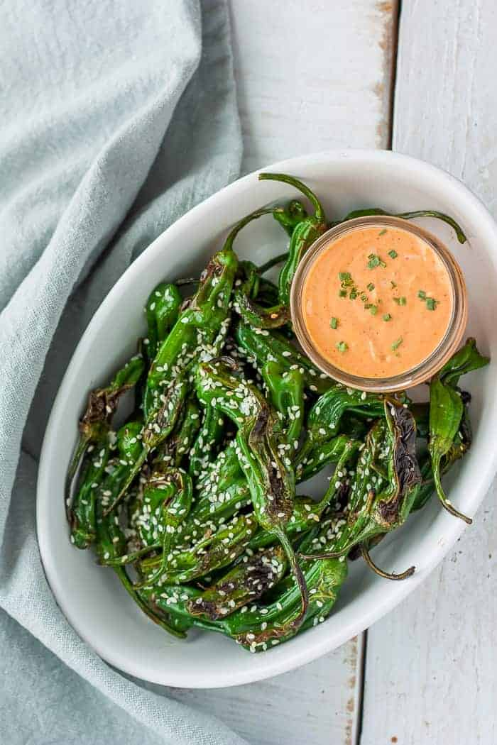 Blistered Shishito Peppers Whole30 Paleo Vegan