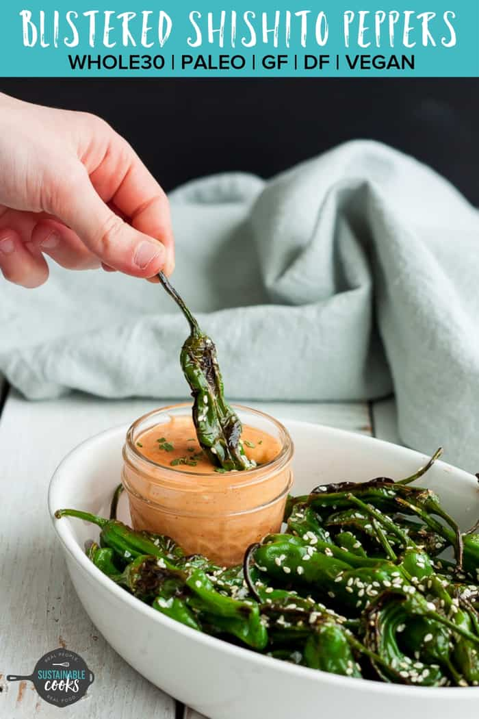 Addicting and so poppable, Blistered Shishito Peppers are a cult favorite appetizer at many Asian steakhouses. Salty, delicious, and so simple to make, you'll fall hard for these shishito peppers. #shishitopeppers #pardonpeppers