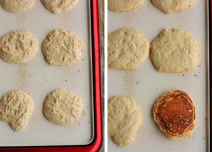 Two side by side photos of whole wheat pancakes on a griddle