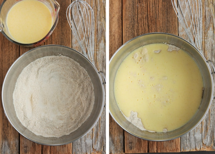 Two process photos for making whole wheat pancakes