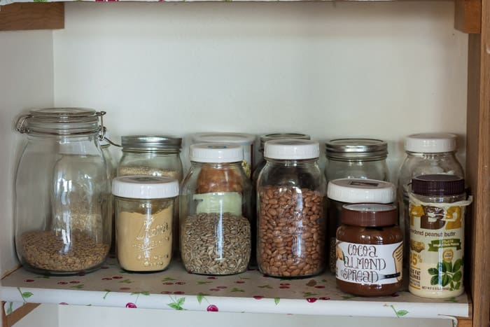 Items on shelves in a pantry