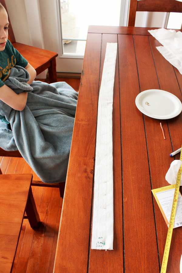 a piece of completed homemade seed tape on a table
