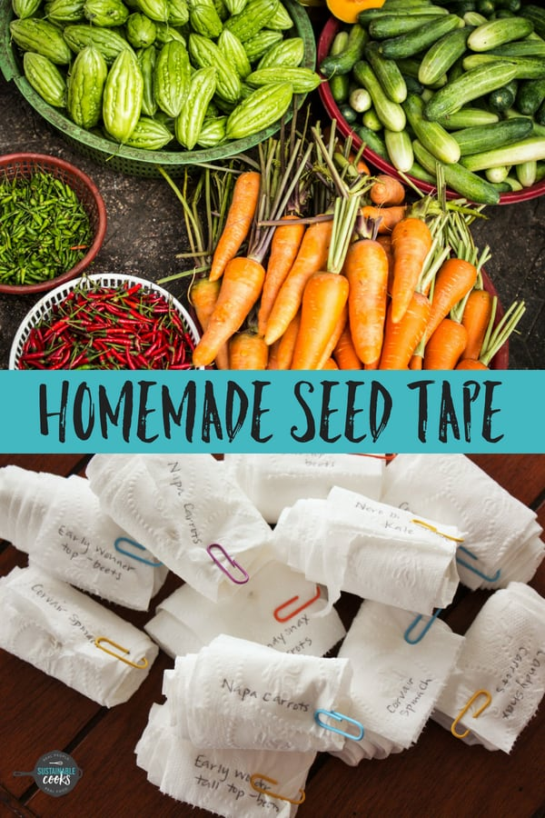 This tutorial for homemade seed tape is an awesome DIY money-saving gardening hack. This project is so easy that even kids can plant tiny seeds like carrots or spinach. #sustainablecooks #seedtape #gardening #plantingseason #growyourown