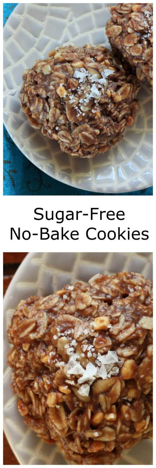 Luscious and chocolate Sugar-Free No-Bake Cookies topped with flaky sea salt is the perfect snack free of refined sugars. Gluten-free, sugar-free, and dairy-free no-bake cookies are so delicious!