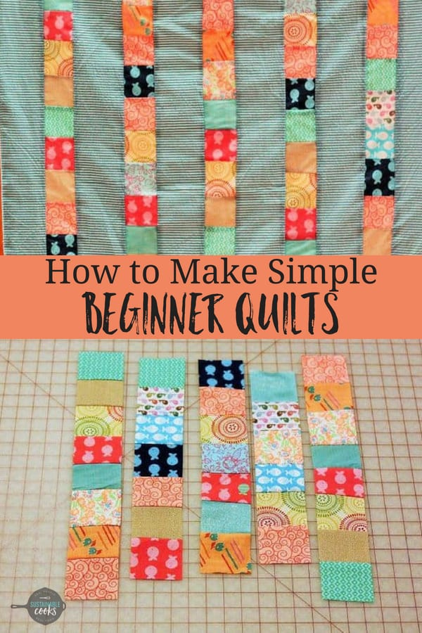 An easy to follow step by step tutorial on making simple beginner quilts. These quilt projects can be made on any sewing machine or sewn by hand. #sustainablecooks #beginnerquilts #quilting #patchworkquilts #easyquilts #modernquilts #quilting