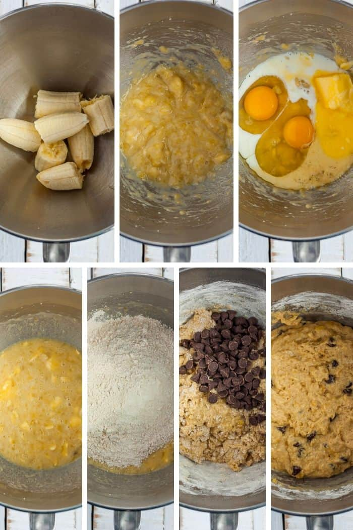 7 photos showing step by step how to make banana muffins in a mixer