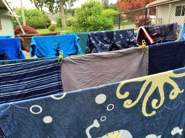 laundry on an outdoor clothesline