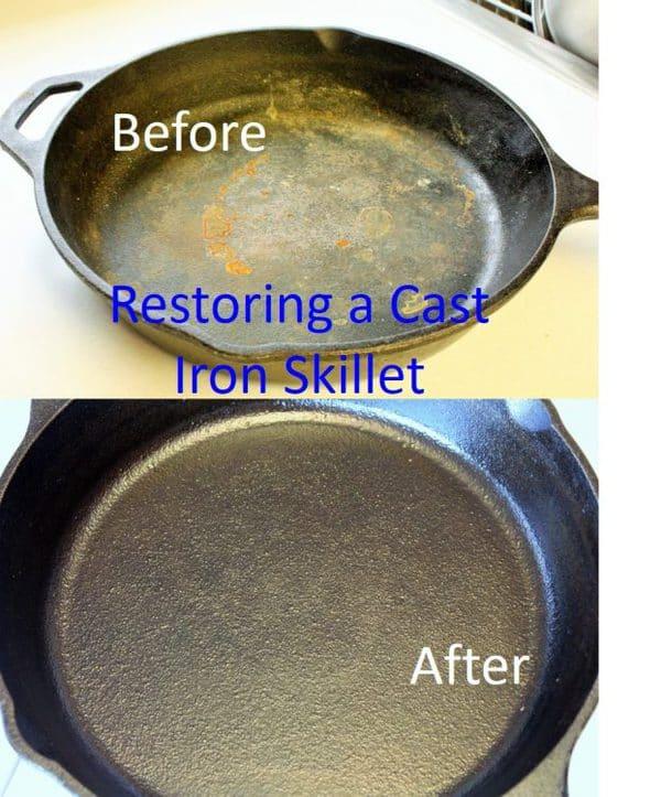 Restoring a cast iron skillet