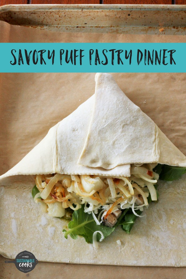 A fast and cozy dinner, this Savory Puff Pastry Recipe is a comfort food meal at its best. Great for easy weeknight meals, parties, or appetizers, these sandwiches are delicious and simple to make ahead. #sustainablecooks #puffpastry #easydinner #fastdinner #comfortfood #weeknightdinner #backtoschool #backtoschooldinner