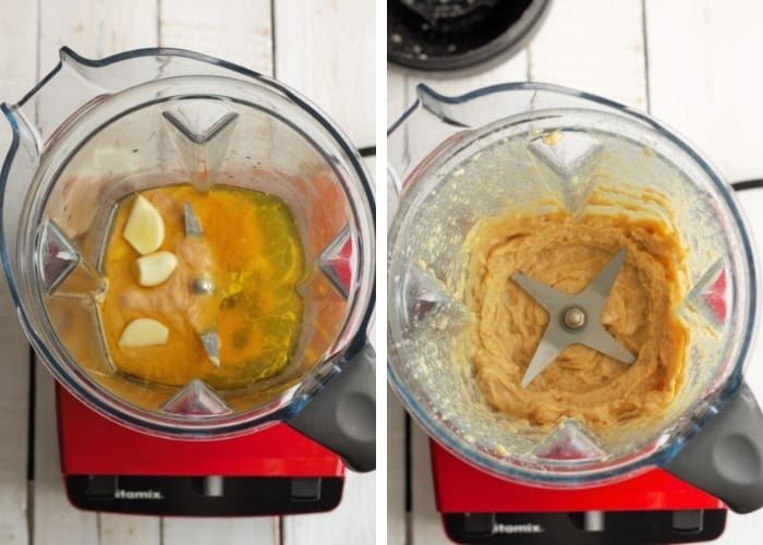 Two photos showing how to make garlic hummus