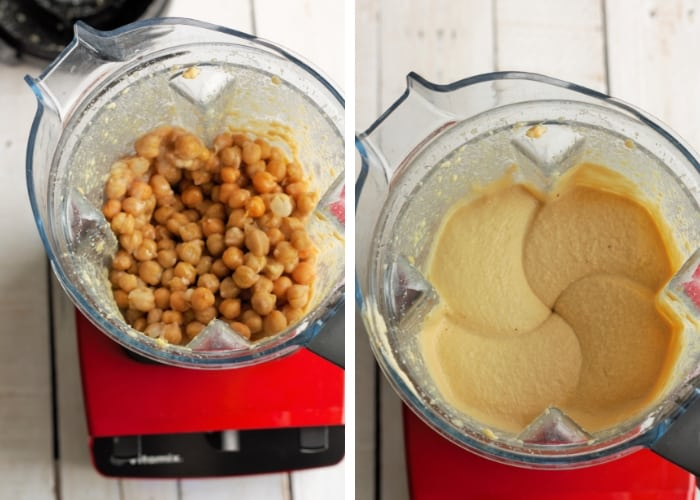 chickpeas in a blender for making garlic hummus
