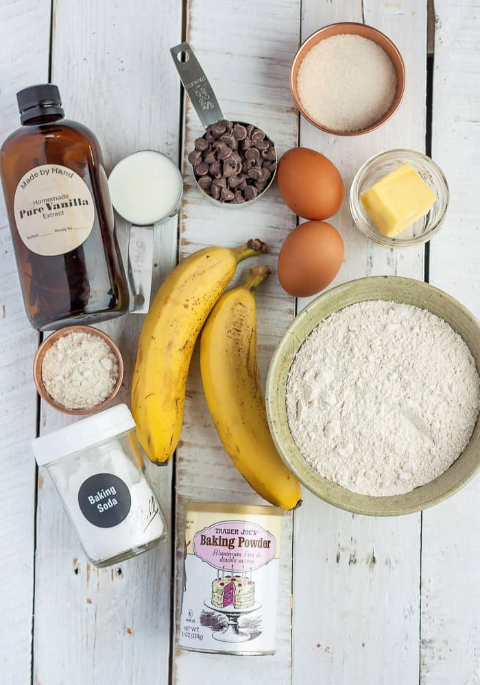 bananas, flour, eggs, and other ingredients for making banana muffins