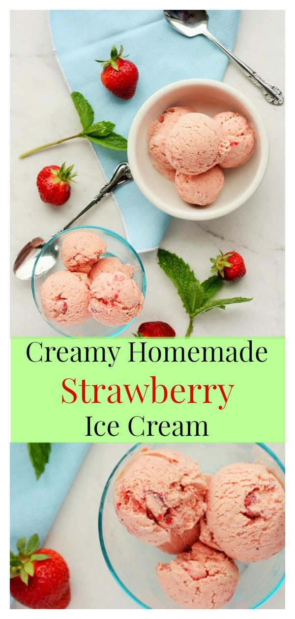 The only thing better than local strawberry season is making Creamy Homemade Strawberry Ice Cream! Fresh, bright, and full of flavor, this is the best strawberry ice cream you'll ever make at home. #sustainablecooks #strawberries #icecream #strawberryicecream