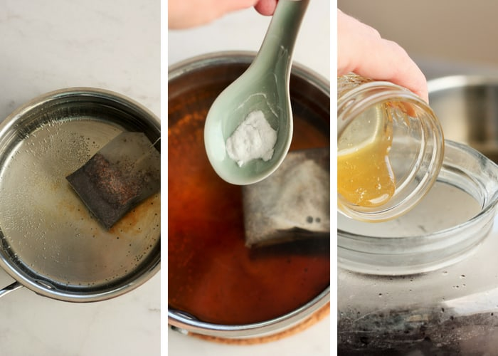 Process shots for making healthy sweet tea