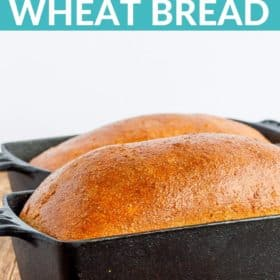 2 loaves of bread in cast iron bread pans