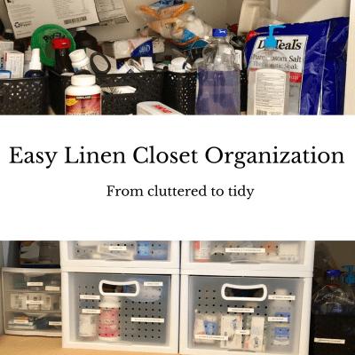 Easy Linen Closet Organization