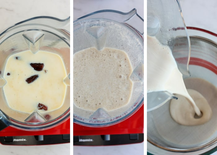 process shots for making homemade sugar-free coffee creamer