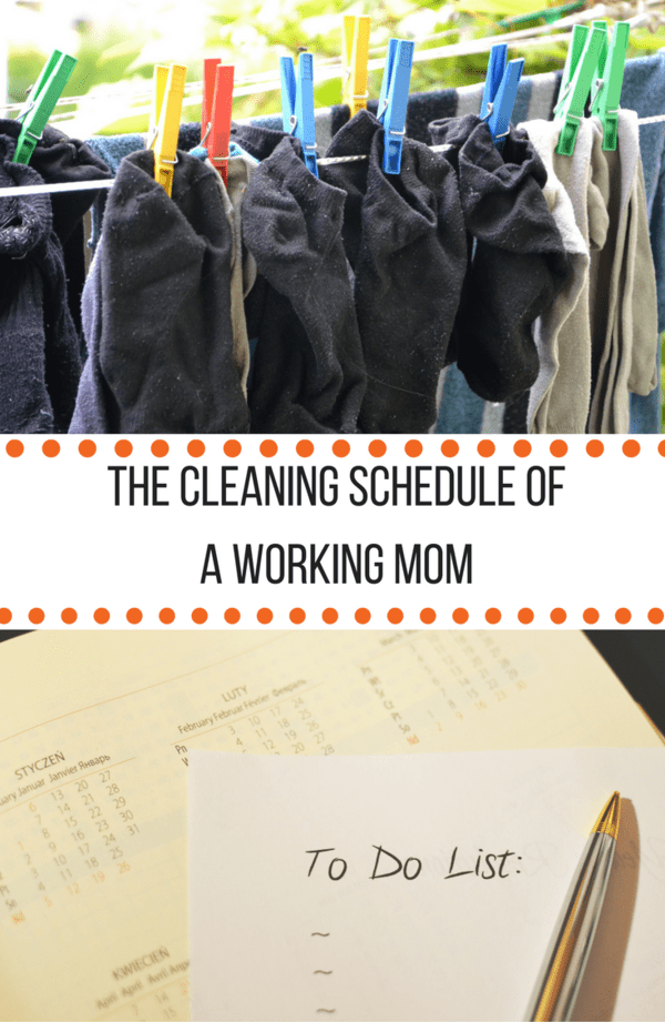 The cleaning schedule of a working mom and how she keeps her house clean, tidy and running semi-smoothly. Filled with tips, tricks, and adaptable ideas.
