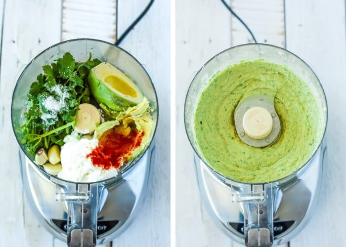two photos of a food processor making avocado yogurt dip
