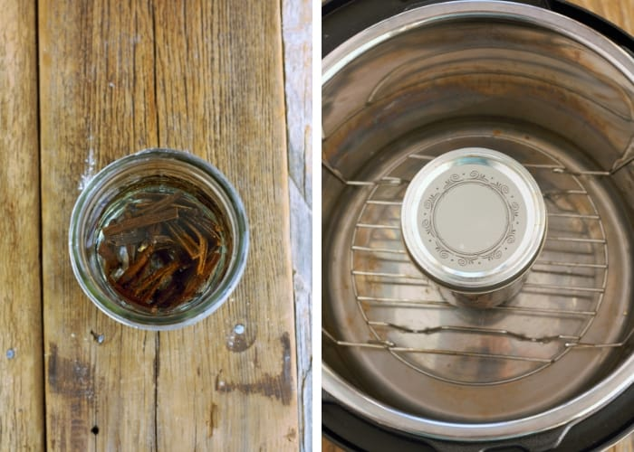 Two photos showing how to make homemade vanilla extract in an instant pot