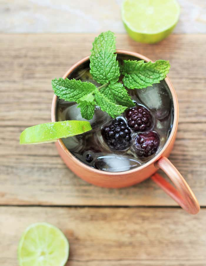 Peach Moscow Mule With Blackberries Sustainable Cooks