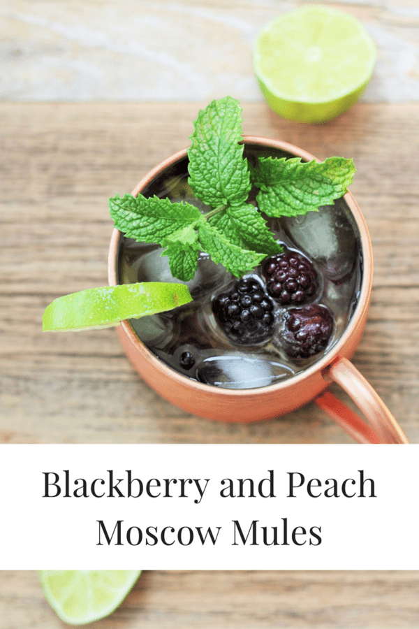 Blackberry and Peach Moscow Mules. Mocktail and boozy recipe included.