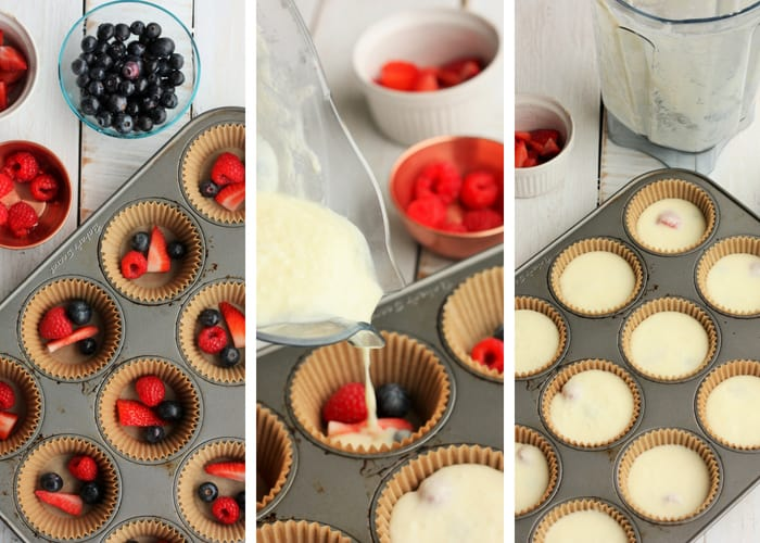 Process shots for making creamy berry party drinks