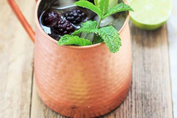 Blackberry and Peach Moscow Mule (Mocktail and Boozy Version)