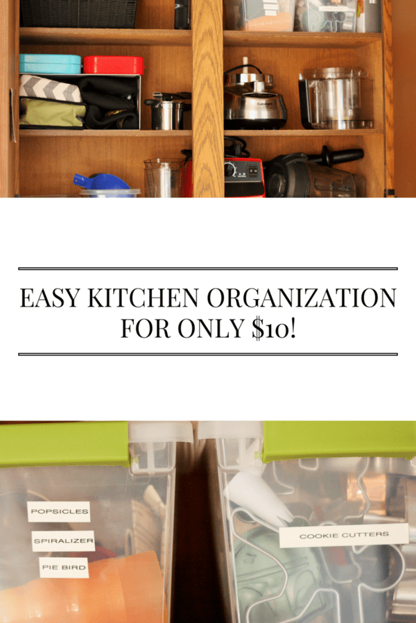 Easy kitchen cabinet organization for only $10. I solved my biggest problem area in the kitchen for a ten spot.