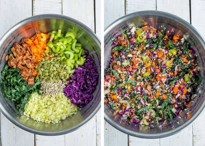 2 photos showing kale chopped salad with bacon in a bowl