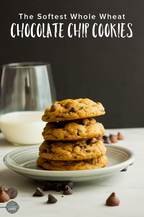 A one-bowl easy recipe for the best chewy whole wheat chocolate chip cookies ever. These are hands down the softest whole wheat chocolate chip cookies you've ever had. #sustainablecooks #chocolatechipcookies #wholewheatcookies #wholewheatbaking #wholewheatchocolatechipcookies