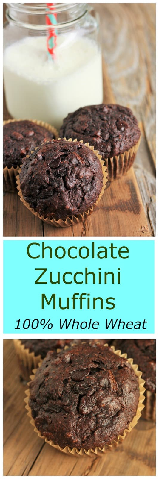 Chocolate Zucchini Muffins - Whole Wheat, Low-Sugar. A picky-kid approved quick breakfast or snack. Each batch boasts 3 whole cups of veggies.