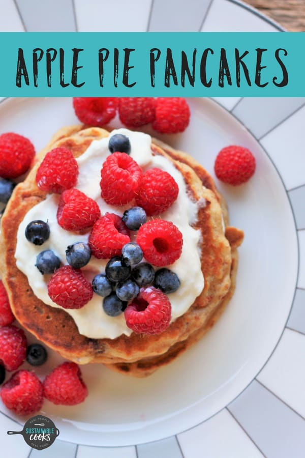 A delicious family favorite, these healthy Apple Pie Pancakes are fluffy and kid-approved. Warm apples, cinnamon, and whole wheat make these pancakes irresistible. #sustainablecooks #applepiepancakes #pancakes #wholewheat #apples #cinnamon #freezerfriendly