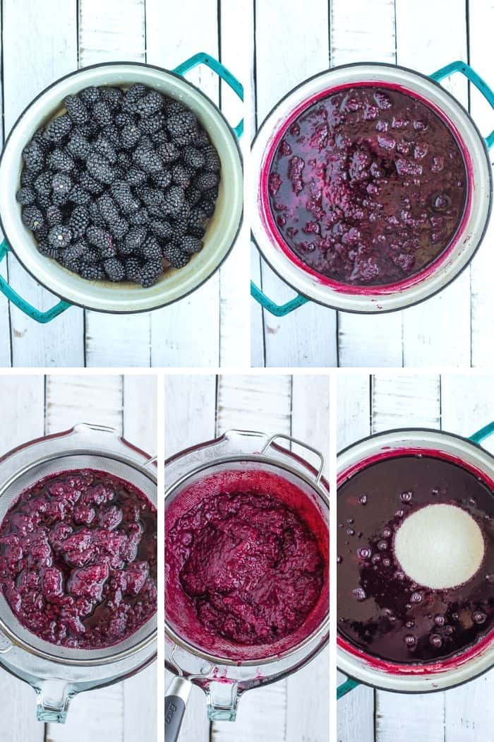 5 photos showing step by step how to make blackberry syrup